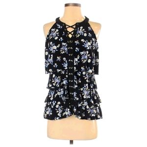 White House Black Market Lace Up Tiered Ruffle Top